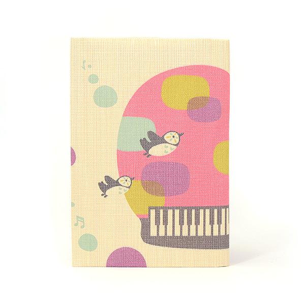 ふすま地ブックカバー <まつしまゆうこ>トリピアノ 0131