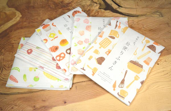 【ギフト】絵便りふきん5枚・ウォーキングタオル2枚セット