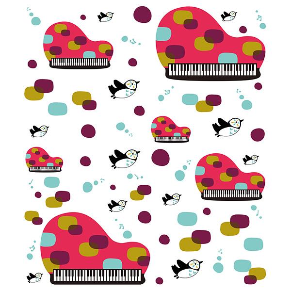 絵便りふきん ペンギンとピアノ