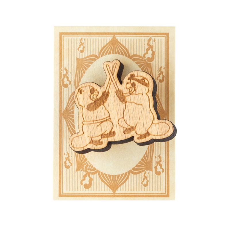 木製ブローチ 平成狸合戦ぽんぽこ