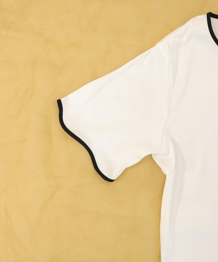パイピング サテンシャツ ワンピースルームウェア