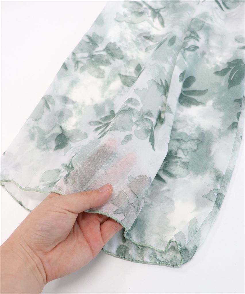 フレア袖ビキニ シアー素材 ワイドパンツ 3点セット