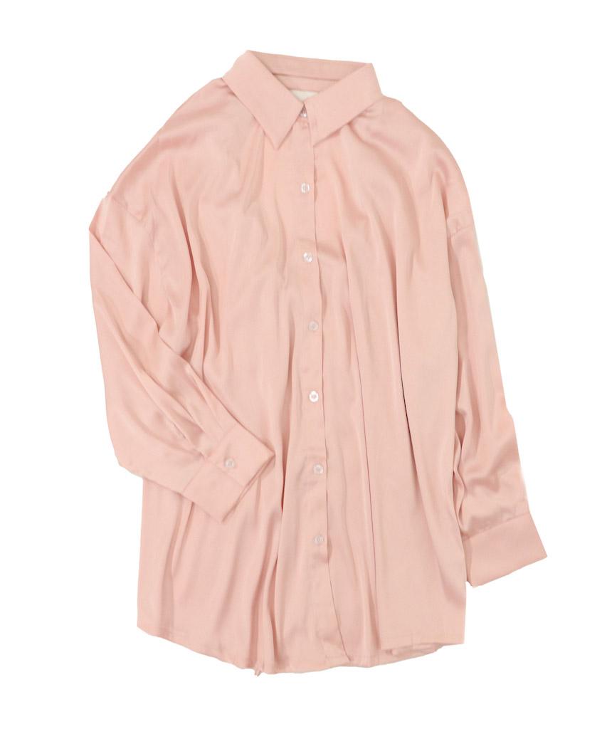 バックシャン ドロストサテンシャツ セクシールームウェア