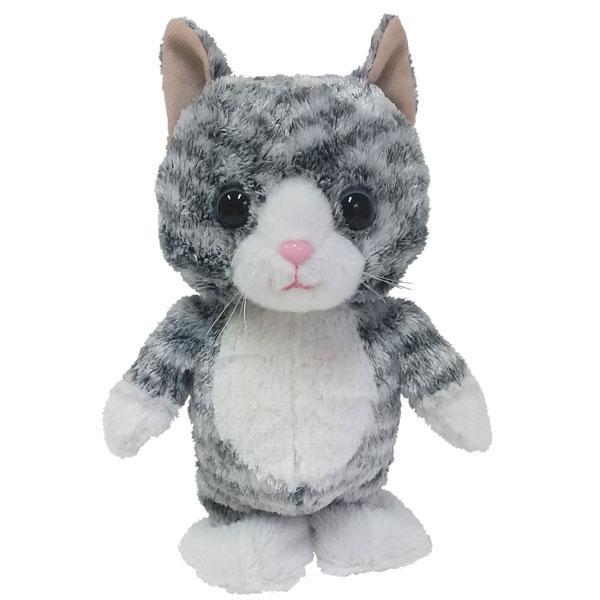 【電池プレゼント】動くネコのぬいぐるみ ウォーキングトーキングキティ サバトラ