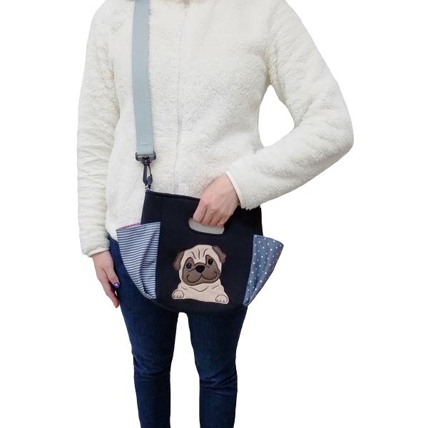 【在庫限り】【 2ウェイ 】ハンドバッグ ショルダーバッグ お散歩バッグ ポケット 犬 散歩 アップリケ 刺繍【 お散歩バッグ ベストエバー 】パグ フォーン