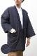 <送料無料>綿入れはんてん 男性用 特許 前合わせ兼用 紬織かつお縞 大判(LL)サイズ 半纏 袢纏 半天 どてら ちゃんちゃんこ 丹前 メンズ 防寒 ギフト プレゼント 日本製 久留米産