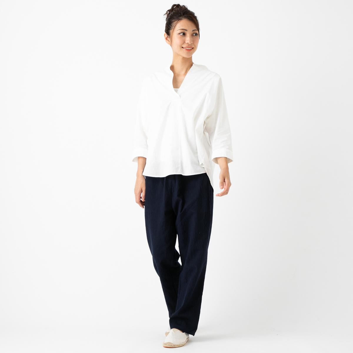 女性用リラックスフィットイージーパンツ ちぢみ織 <日本製久留米産もんぺ>
