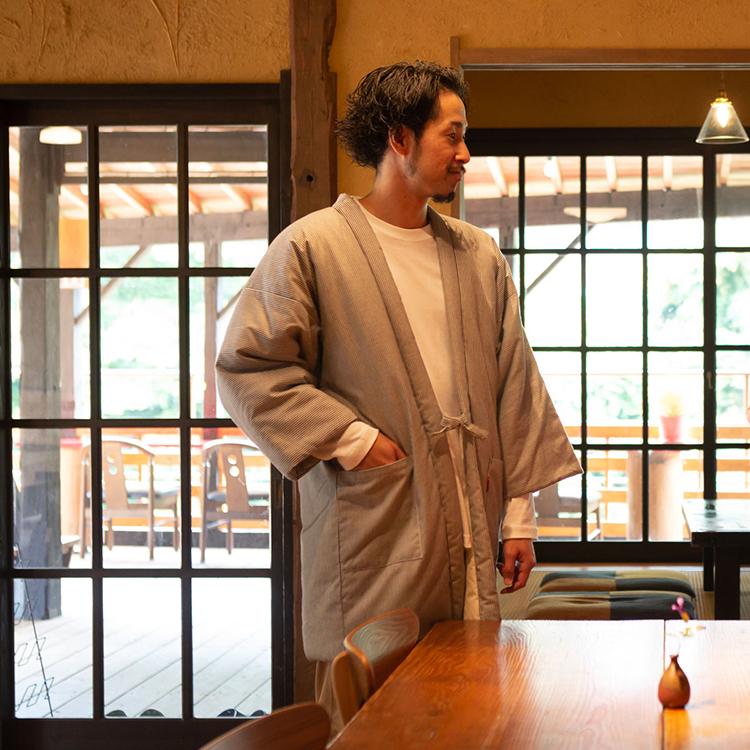 綿入れはんてん 男性用 綾織 ヒッコリー柄 大判(LL)サイズ
