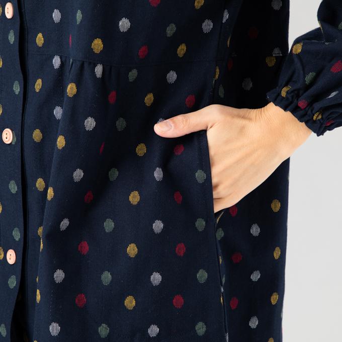 さっと羽織れる前ボタン割烹着 ドビー織 エプロン キッチン 制服 作業着 ユニフォーム 和柄 絣柄 母の日 敬老の日