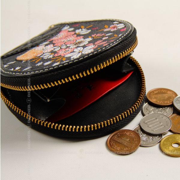 花山コインケース/KAZAN COIN CASE(ブラック) [W-70K-都桜-BK]