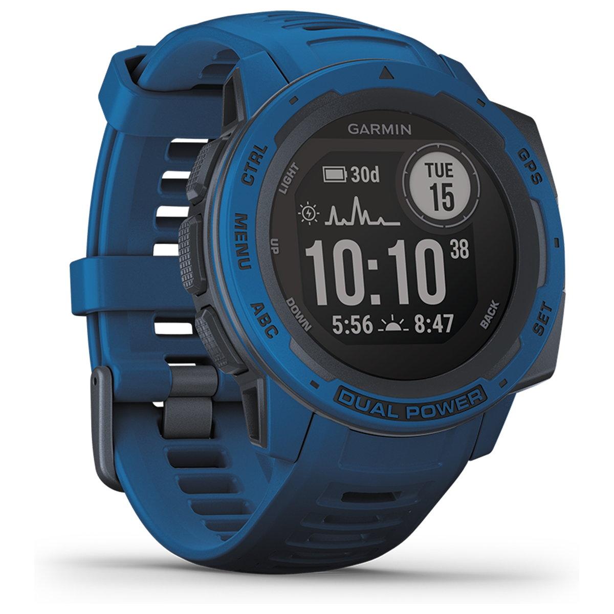 ガーミン GARMIN Instinct Dual Power Tidal Blue インスティンクト デュアルパワー スマートウォッチ ウェアラブル GPS ソーラー 腕時計 010-02293-35