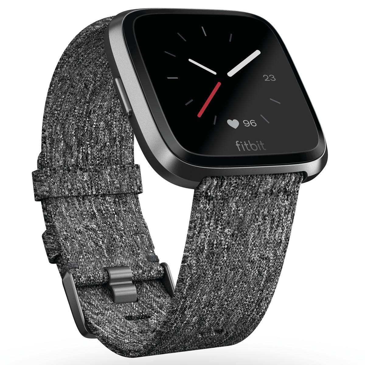 Fitbit フィットビット Versa ヴァーサ フィットネス スマートウォッチ ウェアラブル端末 腕時計 メンズ レディース Chacoal Woven FB505BKGY-CJK