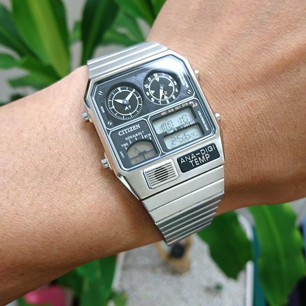 シチズン アナデジテンプ CITIZEN ANA-DIGI TEMP 復刻モデル 腕時計 メンズ レディース シルバー JG2101-78E
