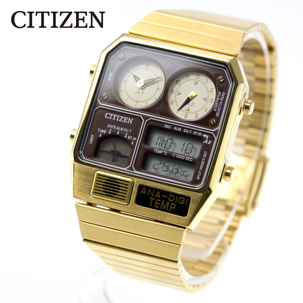 シチズン アナデジテンプ CITIZEN ANA-DIGI TEMP 復刻モデル 腕時計 メンズ レディース ゴールド JG2103-72X