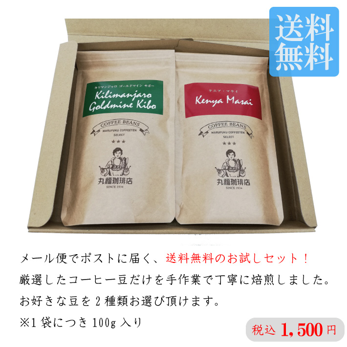 【メール便】送料無料!選べる2種のコーヒー豆お試しセット