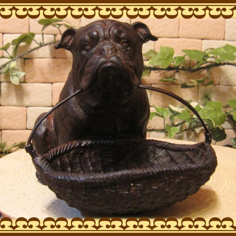 犬の置物 ブルドッグ お買い物 ガーデン オブジェ お部屋のインテリアにお庭のオーナメントとしても♪◇イヌオブジェ フィギュア ガーデニング 玄関先