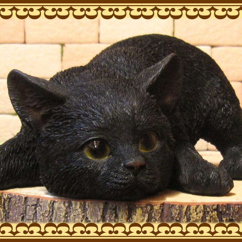 猫の置物 ベビーキャット監視中 ブラック くろねこオブジェ レジン製 ネコフィギュア インテリア ガーデニング素材