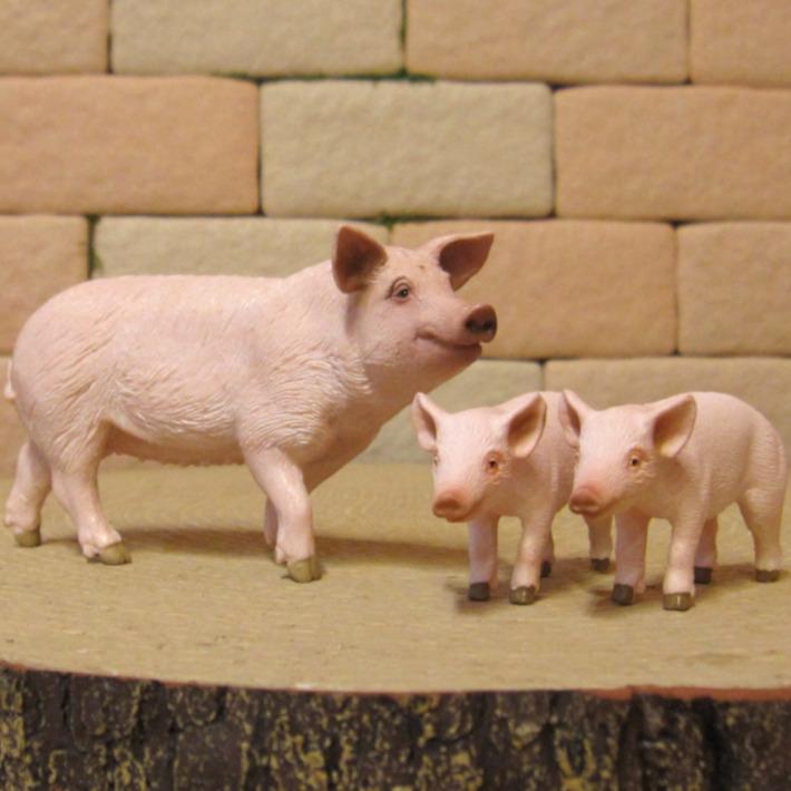 リアルな ブタの置物 ぶたの親子 3点セット ドール フィギュア ガーデニング 豚 縁起物 ミニチュア インテリア