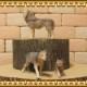 リアルな 狼の置物 オオカミの親子 3点セット ドール フィギュア ガーデニング おおかみ ウルフ ミニチュア インテリア