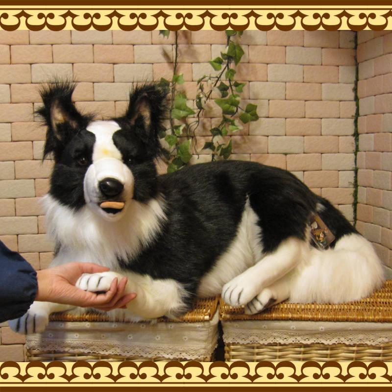 大きくてリアルな犬のぬいぐるみ ボーダーコリー ビッグサイズ ドッグオブジェ いぬの置物 イヌのフィギュア インテリア