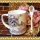 贈り物に最適♪ 可愛いヨークシャー・テリアとねこちゃんのイラストのスプーン付きマグカップ ギフトボックス付きです