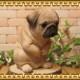 リアルな犬の置物 おもてなし ドッグ パグ  いぬのオブジェ イヌのフィギア◇お部屋のインテリアにお庭のオーナメントとしても♪