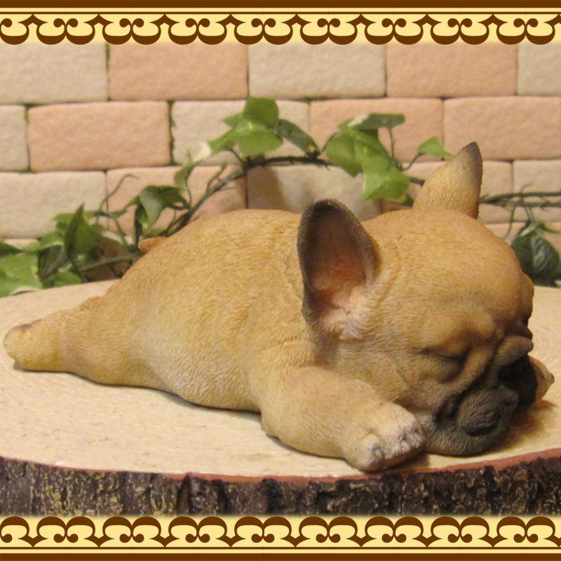 リアルな犬の置物 フレンチブルドッグ ウトウトねむねむ 子いぬ ◇お部屋のインテリアにお庭のオーナメントとしても♪◇イヌオブジェ フィギュア ガーデニング 玄関先
