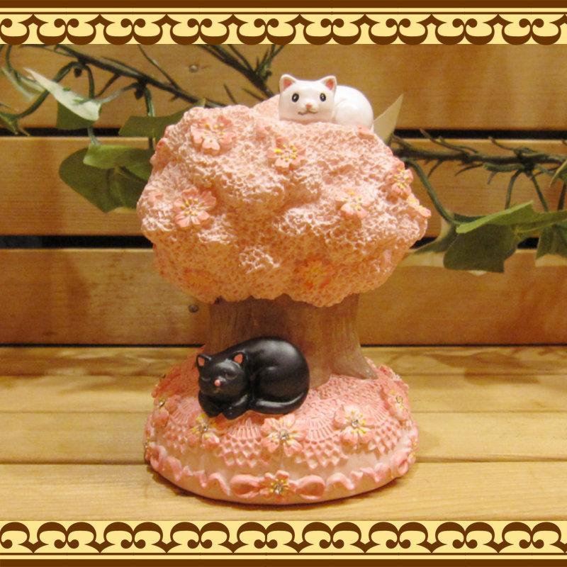 お花とラインストーンでおめかし♪ 可愛いアニマルバンク ネコとサクラの貯金箱  桜の木 お部屋のインテリアにギフトとしても