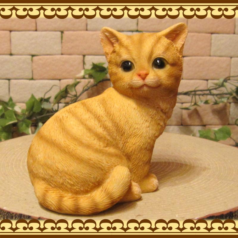 猫の置物 可愛い ネコの貯金箱 チャトラ アニマルバンク おすましキャット オブジェ ねこ インテリア