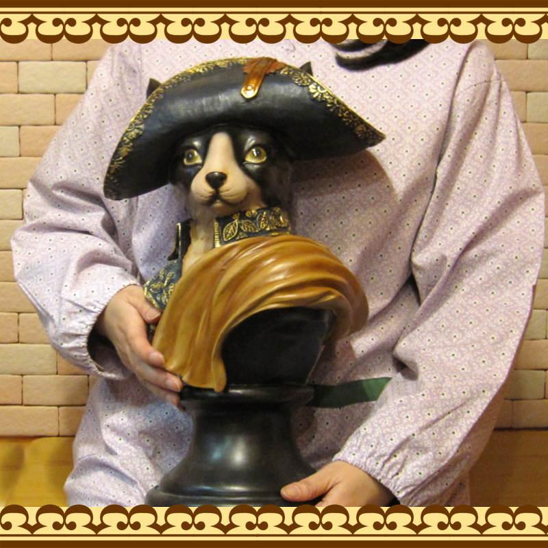ネコの置物 EMPEROR CAT 大きなねこのフィギュア アンティーク調 猫オブジェ◇お部屋のインテリアに♪