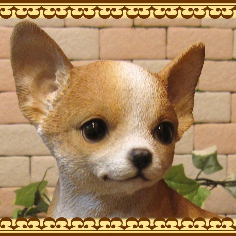 犬の置物 チワワ 子いぬ 休憩中! ガーデン オーナメント 装飾 ベランダアート イヌオブジェ フィギュア ガーデニング 玄関先