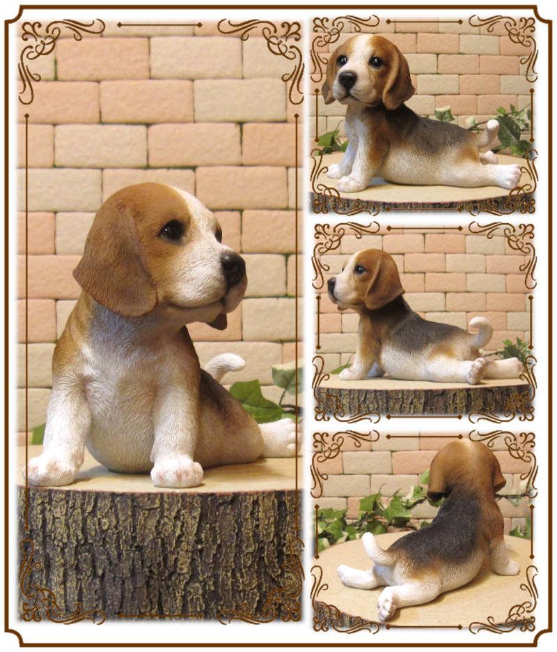 犬の置物 ビーグル 子いぬ 休憩中! ガーデン オーナメント 装飾 ベランダアート イヌオブジェ フィギュア ガーデニング 玄関先