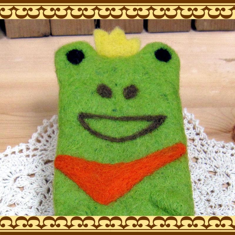 手作り感タップリ羊毛フェルト雑貨 カエルのロロフェルトペンケース コスメ道具入れにも