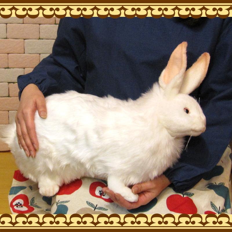 大きくてリアルなウサギのぬいぐるみ 雪うさぎ ビックサイズ