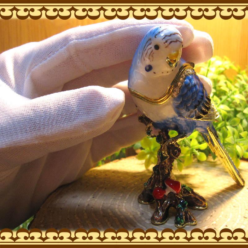 鳥の置物 インコ 小物入れ ブルー とり トリ バード ジュエリーケース 宝石箱 トリケンボックス インテリア
