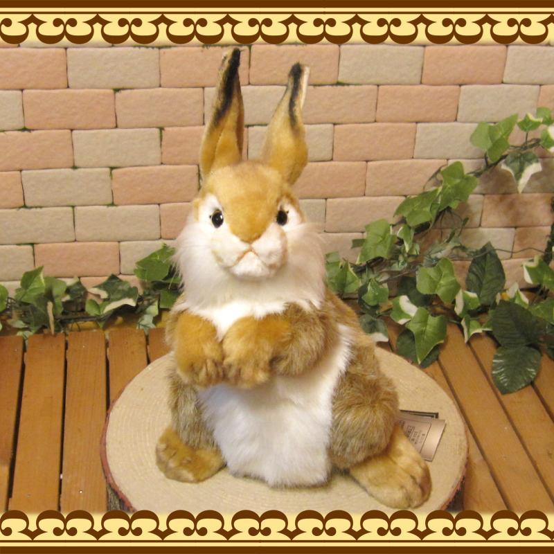 大きくてリアルなウサギのぬいぐるみ 立ちうさぎ ブラウン 置物 オブジェ
