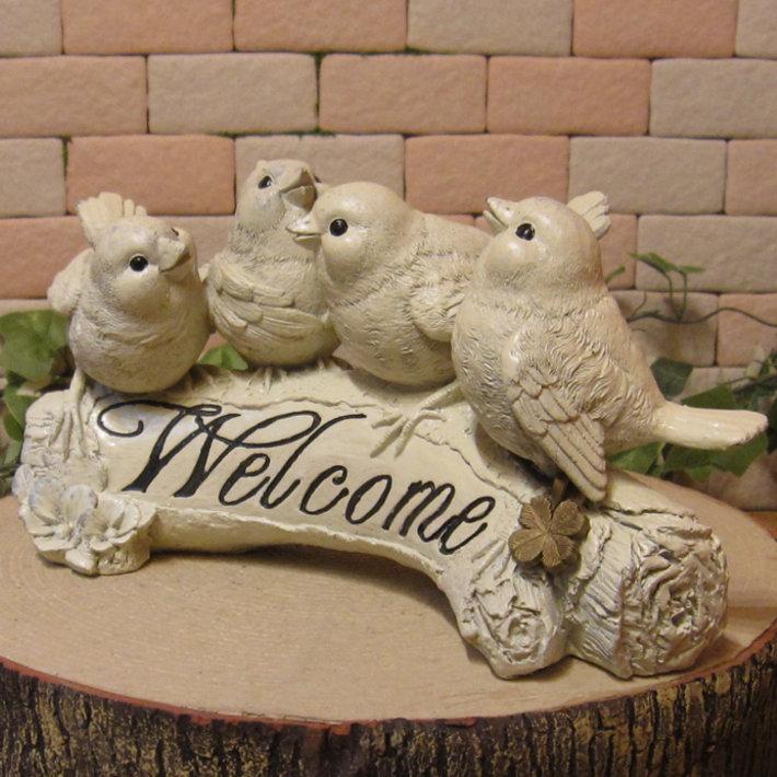 鳥の置物 バードウエルカムサインオーナメント とり ガーデン オブジェ ベランダアート インテリア