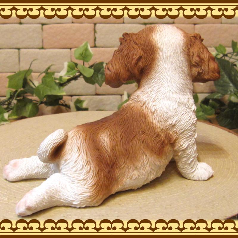 犬の置物 キャバリア 子いぬ 休憩中! ガーデン オーナメント 装飾 ベランダアート イヌオブジェ フィギュア ガーデニング 玄関先
