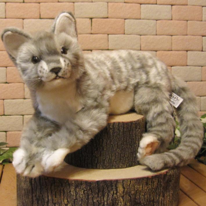 猫の置物 リアルな 寝そべりネコ グレー ぬいぐるみ キャット 猫の置物 ネコのオブジェ インテリア フィギュア