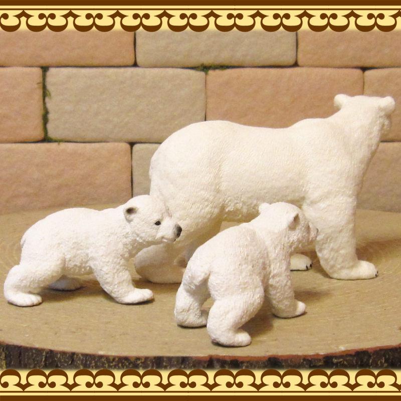 リアルな 熊の置物 シロクマの親子 3点セット 白熊 北極熊 ドール フィギュア ガーデニング くま 縁起物 ミニチュア インテリア