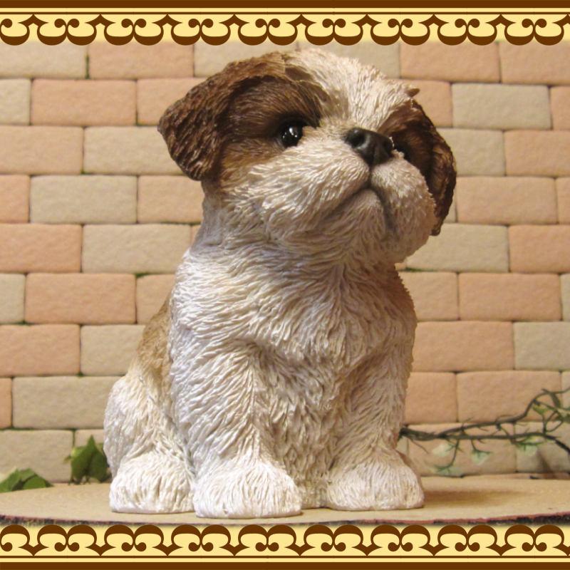 犬の置物 シーズー Aタイプ リアルな犬の置物 お座り 子いぬ フィギア ガーデン オブジェ お部屋のインテリアにお庭のオーナメントとしても♪