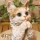 リアルなネコの置物 お願いキャット 1 ミケ 三毛ねこのフィギュア 猫オブジェ◇お部屋のインテリアにお庭のオーナメントとしても♪