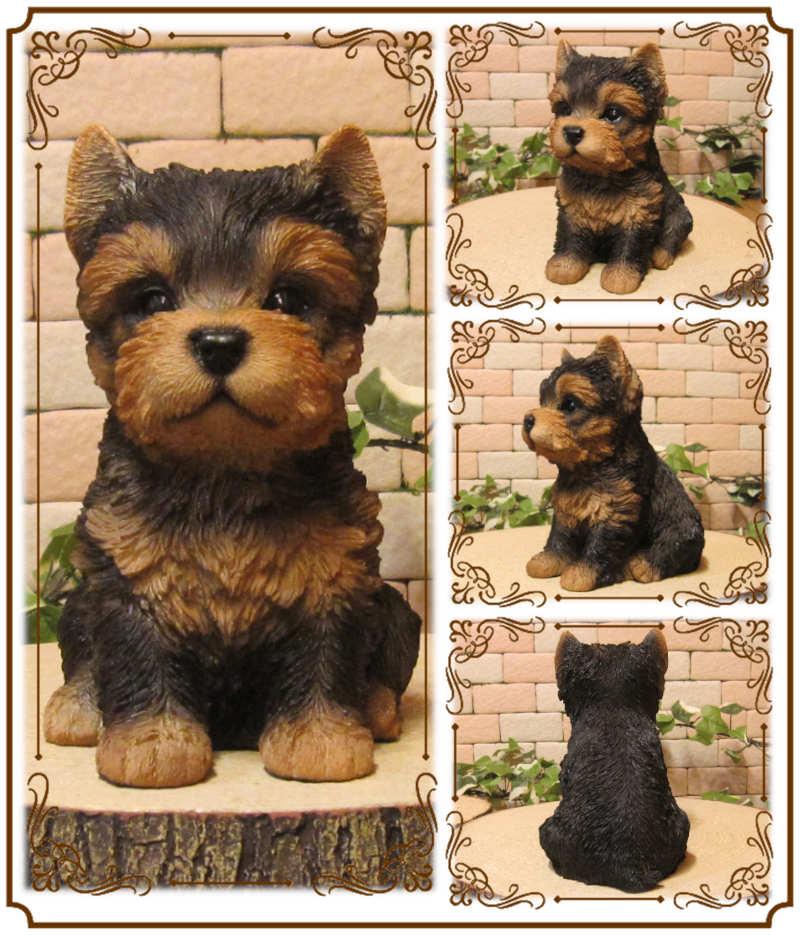 ◇お部屋のインテリアにお庭のオーナメントとしても♪ リアルな犬の置物 ヨークシャテリア 子犬   お座り