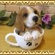 リアルな犬の置物 ビーグル ティーカップドッグ Aタイプ◇お部屋のインテリアにお庭のオーナメントとしても♪  子いぬのフィギア ガーデニング オブジェ 玄関先