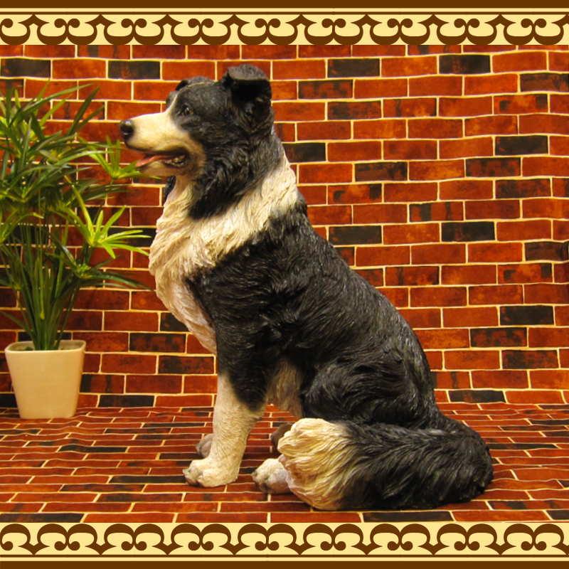 お部屋のインテリアにお庭のオーナメントとしても♪ 大きくてリアルなイヌの置物 ボーダーコリー 成犬 お座り ビッグサイズ ドッグオブジェ 庭 ガーデニング