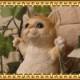 猫の置物 ブランコキャット Bタイプ チャトラ ねこオブジェ レジン製 ネコフィギュア インテリア ガーデニング素材