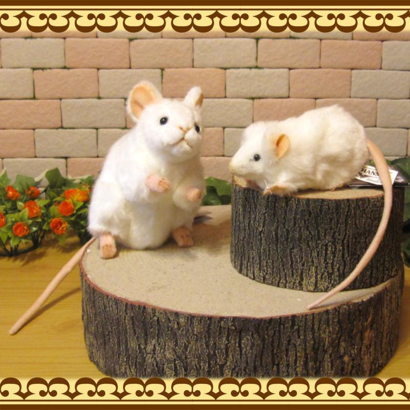 ネズミの置物 リアルな ねずみのぬいぐるみ 白ネズミ 親子2体セット 干支 オブジェ 飾り インテリア もふもふ 縁起物