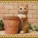 リアルな ねこの置物 猫とミニ鉢カバー 茶トラ 猫のオブジェ ネコモチーフ フィギュア お部屋のインテリアにガーデニングの素材に