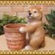 リアルな 犬の置物 柴犬と鉢カバー ドッグ 子いぬのフィギア ガーデニング オブジェ 玄関先 お部屋のインテリアにお庭のオーナメントとしても