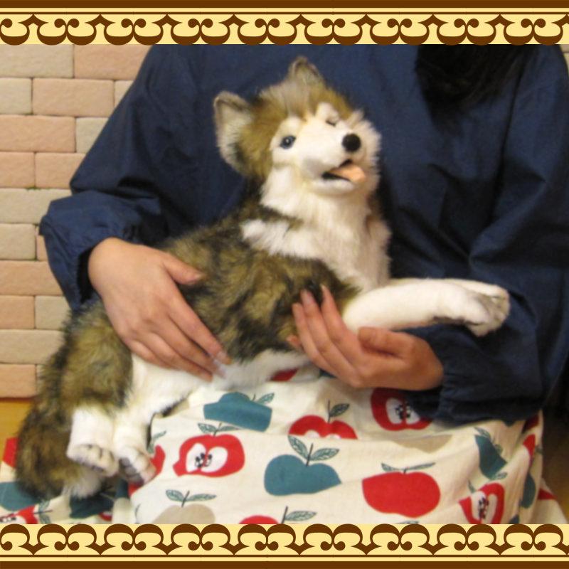 大きくてリアルな犬のぬいぐるみ シベリアンハスキー ドッグオブジェ いぬの置物 イヌのフィギュア インテリア